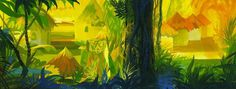 """""""The Jungle Book"""" (1967) concept painting. Click to enlarge. #peregoy #background #walt #disney #painting"""