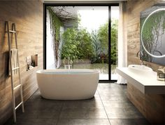 Modern Bathroom Decor with Live Plants - #bath, #interior, #decor, #plants, #greenery