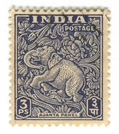 All sizes | India Postage Stamp: Ajanta Caves elephant | Flickr - Photo Sharing! #typography #vintage #type #stamp #india #elephant