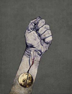 Lasso the Moon - Katie Melrose artbykatiemelrose.bigcartel.com #moon #lasso #blood #hand #veins