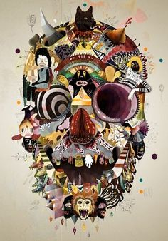 Google Reader (1000+) #voodoo #skull #collage