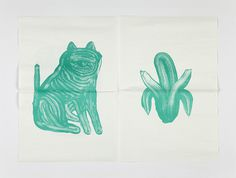 ilgtrueb.ch :: Fabrikzeitung #green #fold #banana #stroke #cat #paint #illustration #art #brush #paper #dog