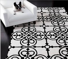COCOCOZY: AM DECO: A WHITE RUG WITH INTERNATIONAL FLOURISH! #interior #design #pattern #morocco