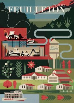 / The Visual Work Of Mike Lemanski / Feuilleton Issue One Cover. Client: Feuilleton #map #illustration