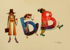 A Colorful And Lively Alphabet Shaped Like People In Various Poses DesignTAXI.com #fun