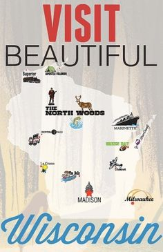 Visit Beautiful Wisconsin Digital Print by SeventySevenDesign #illustration #poster #wisconsin