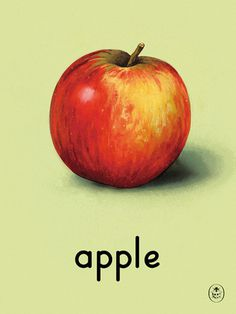 apple Art Print by Ladybird Books Easyart.com #print #design #retro #artprints #vintage #art #bookcover