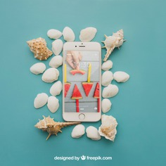 Beach concept with smartphone and shells Free Psd. See more inspiration related to Mockup, Summer, Beach, Sea, Sun, Holiday, Smartphone, Mock up, Decorative, Vacation, Summer beach, Marine, Up, Season, Concept, Shells, Composition, Mock, Summertime and Seasonal on Freepik.