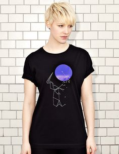 NATRI - DOT TO DOT & ORIGAMI - black t-shirt - women