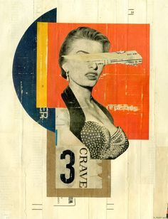 Crave #yellow #orange #shapes #artwork #handmade #vintage #art #collage #typography