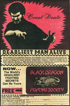DEADLIEST MAN ALIVE #black #dragon #fighting #society #count dante #comic book #design