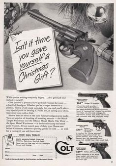 Crazy-Christmas-Ads2.jpg 450×641 pixels #weapon #gun #advertisement #45 #colt #christmas