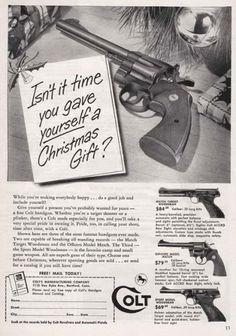 Crazy-Christmas-Ads2.jpg 450×641 pixels #weapon #gun #advertisement #45 #colt #christmas