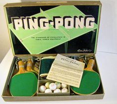vintage game Ping Pong table tennis set Parker Brothers 1937 #pong