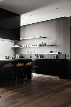 Kevin H. Chung #wood #interior #black #kitchen