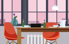 Dining Room Illustration – Nathan Manire #retro #icons #theme #illustration #vintage #midcentruy #decoration #modern #design #color #geometric #series #room #eames #flat #soundfreaq #industrial #interior #dining #chair #decor #home #simple