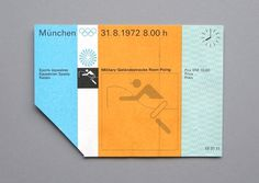 WANKEN - The Blog of Shelby White #1972 #otl aicher #munich olympic games #ticket pass