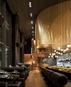Restaurant Interior Decorating in Golden Color Scheme - #restaurant, #decor, #interior, #architecture