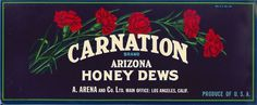 All sizes   Carnation Honey Dews   Flickr Photo Sharing! #red #rgb #packaging #label #vintage #blue #green