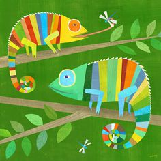 Striped Chameleons #illustration #colors #chameleons