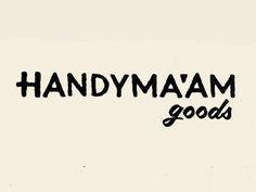 Handyma'am #stamp #ink #script #cream #maam #goods #black #handy #logo #hand
