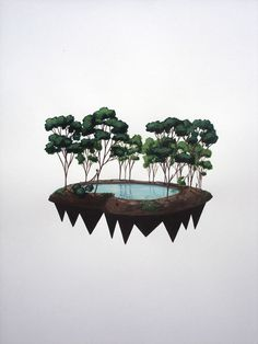 Augustin Sirai #water #island #tree #lake #floating #float #palm #augustin #sirai