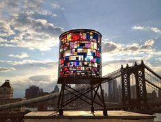 kaleidoscopic watertower by tom fruin #water #glass #tower #york #stained #new