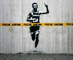 1º Museu Aberto de Arte Urbana do Mundo #stencil #running #art #street #man