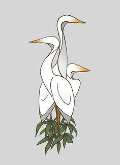 the cranes  #birds #crane #illustration #art #design #sketch #abstract #modern