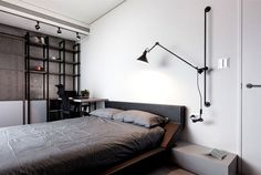 Dark and Moody Apartment Interior grayish bedroom