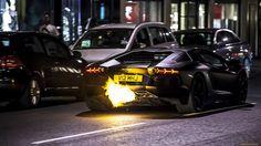 Lamborghini Aventador Flame Backfire HD Wallpaper #lamborghini #flames #aventador