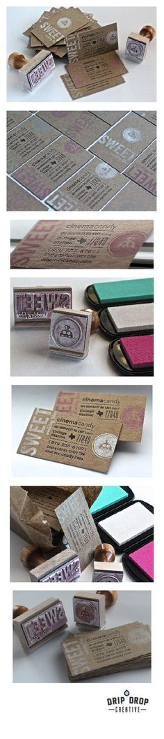 Letterpress and stamp business cards #design #typography #branding #stamps #letterpress #chipboard #wedding #videographer