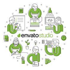 Envato Studio provider T-shirt #flat #vector #programmer #designer #illustrator #geometric #people #space #illustration #work