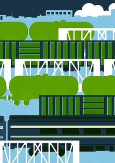 Lucy Vigrass / A - B Travel Poster #trains #lucy #print #vigrass #travel #block #illustration