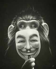 Prisoners Collection on the Behance Network #chimpanzee #chimp #monkey #illustration #mask #vendetta