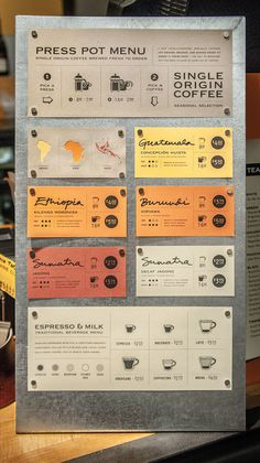 #coffee #menu #food #mixedmedia #yellow #tan #orange, #red #rust #steel #silver #caffeine