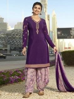 Bollywood Diva Prachi Desai Purple Crepe Designer Straight Cut Suit Online at Best Price.