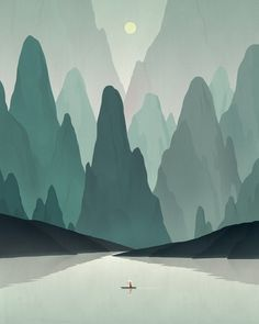 Great color scheme. Mountain illustration. #illustration