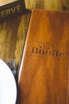 Chez Lionel #engraved #menu #vintage #leather #typography