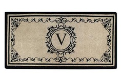 "Create your own style with this decorative Border Coco Fiber Door Mat. Durable and beautiful, this mat keeps shoes clean to protect your floors from mud, dirt and grime. It is flexible, robust and durable. This mat provides exceptional brushing action on footwear with excellent water absorption. Specification - Monogrammed Double Doormat with (V-Letter). Product Dimensions - *36"" x 72"" x 1.5"""