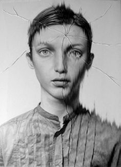 taisuke mohri: cracked portraits #white #drawing #black #and #cracked #pencil