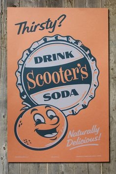 Scooter's Retro Americana Vintage Soda Pop Advertising Screenprint Poster #retro #poster