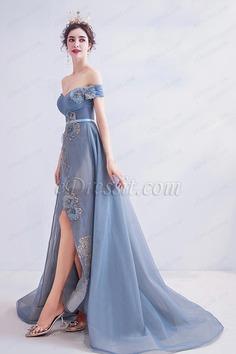 eDressit New OFF Shoulder Fog Blue Tulle Party Evening Dress (36223905)
