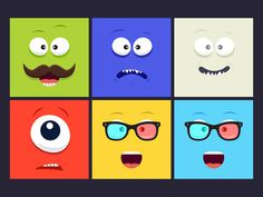 Here's a colourful set of smiling illustration faces made for you to use as avatars.
