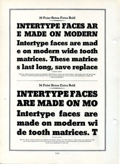 This is a specimen of the Intertype version of Heinrich Jost's Beton Extra Bold. #type #specimen #typography