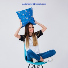Woman on chair holding cushion Free Psd. See more inspiration related to Mockup, Template, Woman, Fashion, Girl, T shirt, Smile, Happy, Shirt, Mock up, Chair, Fashion girl, Female, Young, Good, Up, Holding, Stylish, Looking, Cushion, Mock and Good looking on Freepik.