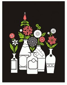 Eight Hour Day » Flowers Art Print #hour #design #graphic #eight #simple #illustration #day