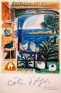 Cote D'Azure by Pablo Picasso from kingandmcgaw.com #Poster #Print #Art #Printing #Lithograph #Drawing #Mourlot