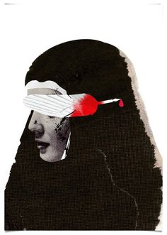 Emmanuel Polanco / The Royal Shakespeare Company / colagene.com #blood #woman #feather #illustration #vintage #sad #collage