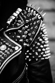 Tumblr #studs #jacket #rocker #leather #biker